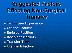 Factors Effecting Non-Surgical Embryo Transfer